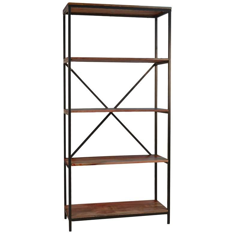 """Brayden 72"""" High 4-Shelf Black Steel Chestnut Wood Bookcase"""