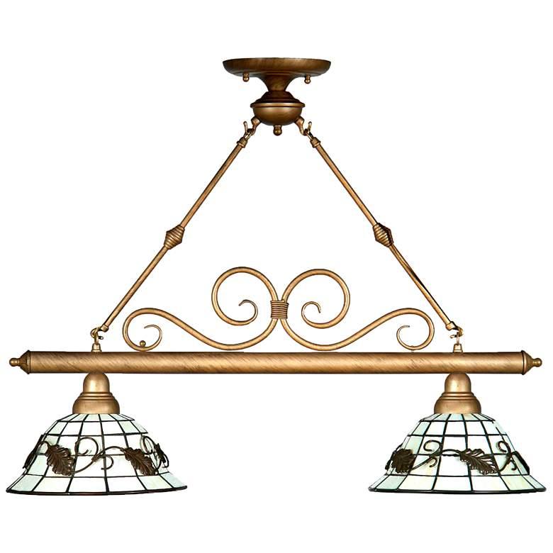 "Dario 30"" Wide Tiffany-Style Art Glass Kitchen Island Light Chandelier"
