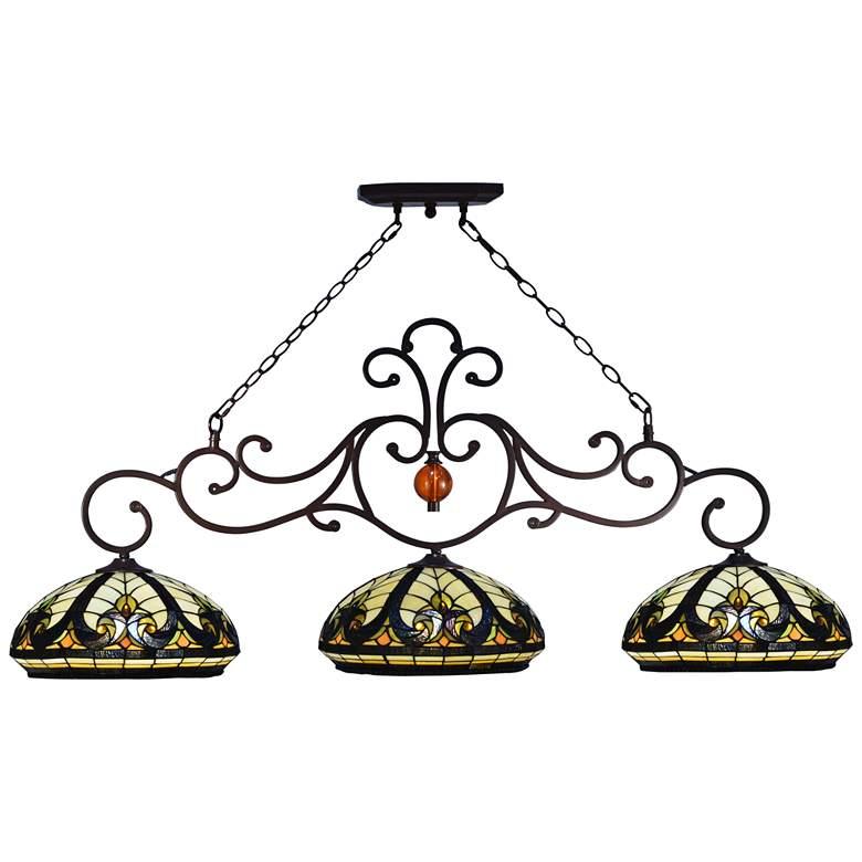"Katana Baroque 54"" Wide Art Glass 3-Light Island Chandelier"