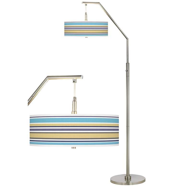 Laguna Stripes Giclee Shade Arc Floor Lamp