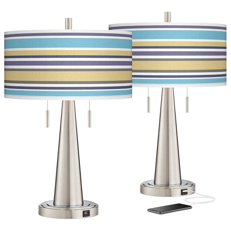 Laguna Stripes Vicki Brushed Nickel USB Table Lamps Set of 2