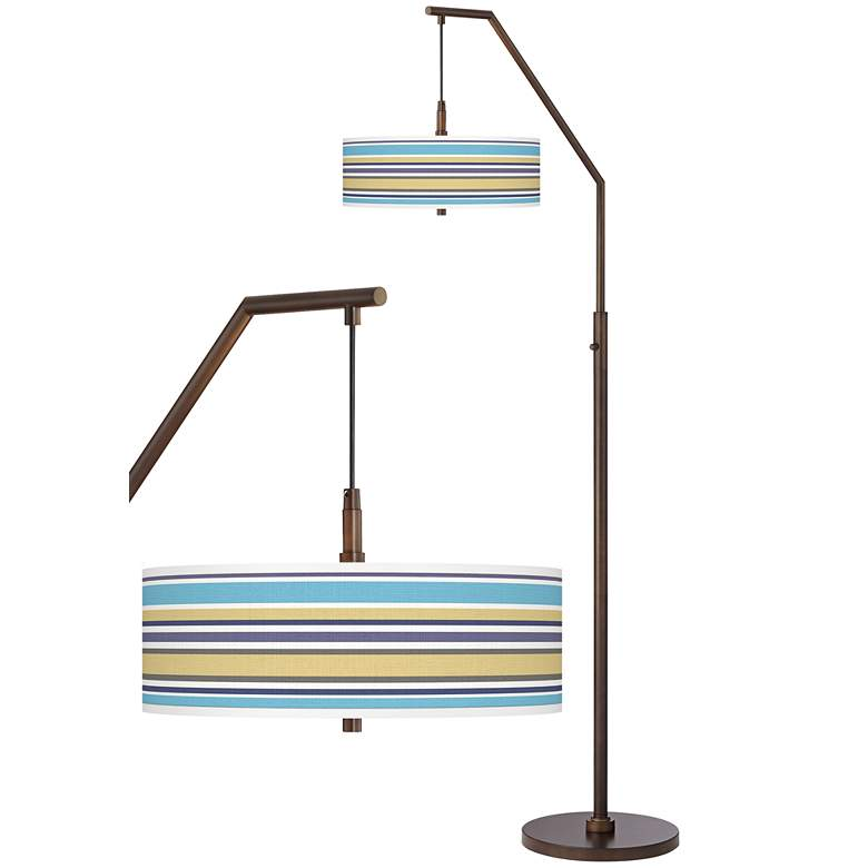 Laguna Stripes Bronze Downbridge Arc Floor Lamp