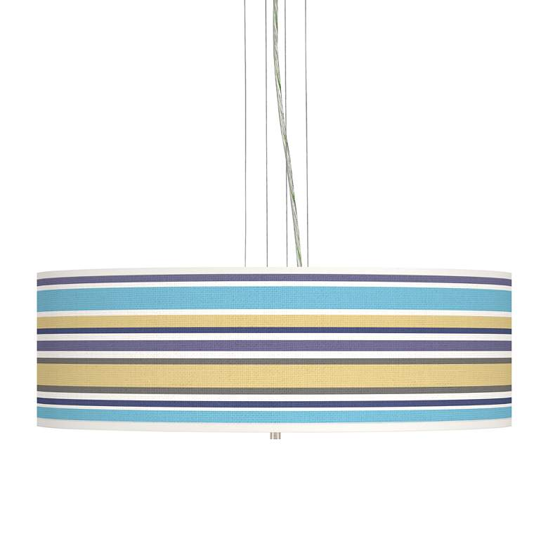 "Laguna Stripes Giclee 24"" Wide 4-Light Pendant Chandelier"