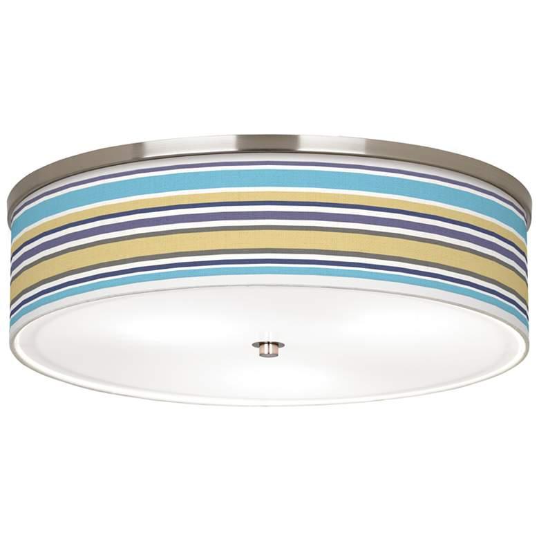 "Laguna Stripes Giclee Nickel 20 1/4"" Wide Ceiling Light"