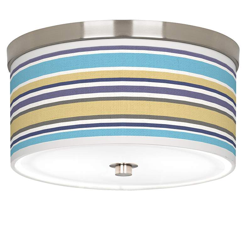"Laguna Stripes Giclee Nickel 10 1/4"" Wide Ceiling Light"