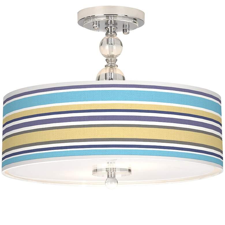 "Laguna Stripes Giclee 16"" Wide Semi-Flush Ceiling Light"
