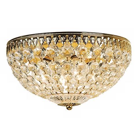 """Schonbek 12"""" Wide Gold Crystal Flushmount"""