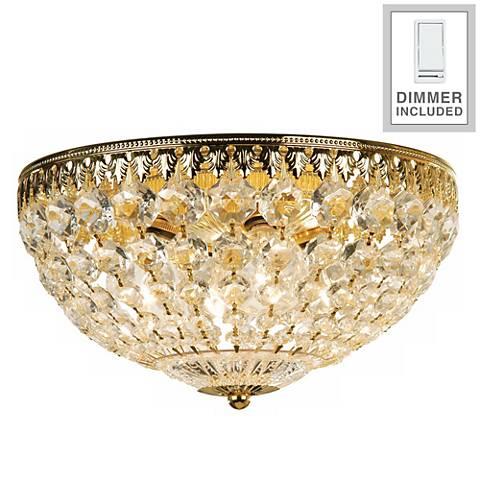 "Schonbek Gold 14"" Wide Crystal Flushmount with Dimmer"