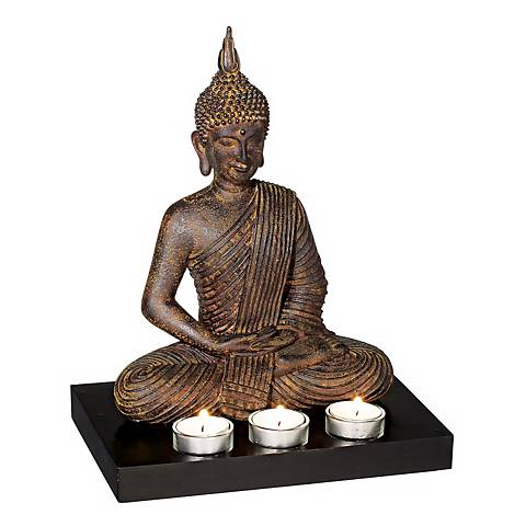 "Sitting Buddha 12 3/4"" High 3-Candle Tealight Holder"