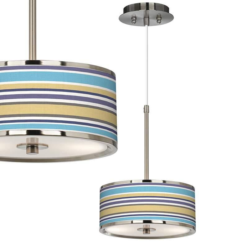 "Laguna Stripes Giclee Glow 10 1/4"" Wide Pendant Light"