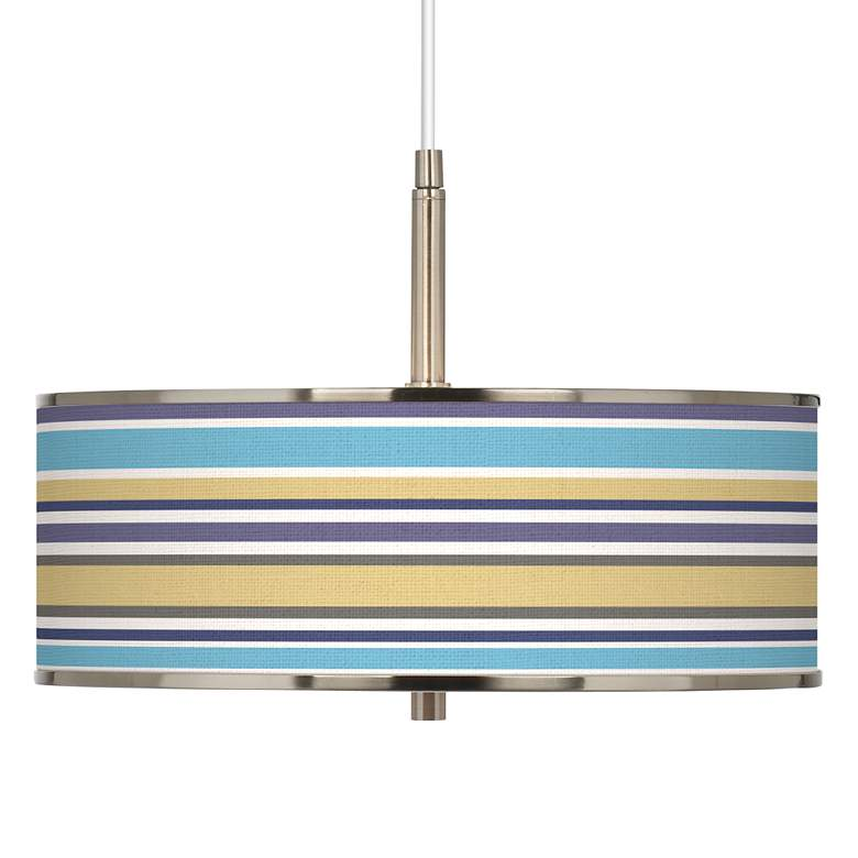 "Laguna Stripes Giclee Glow 16"" Wide Pendant Light"