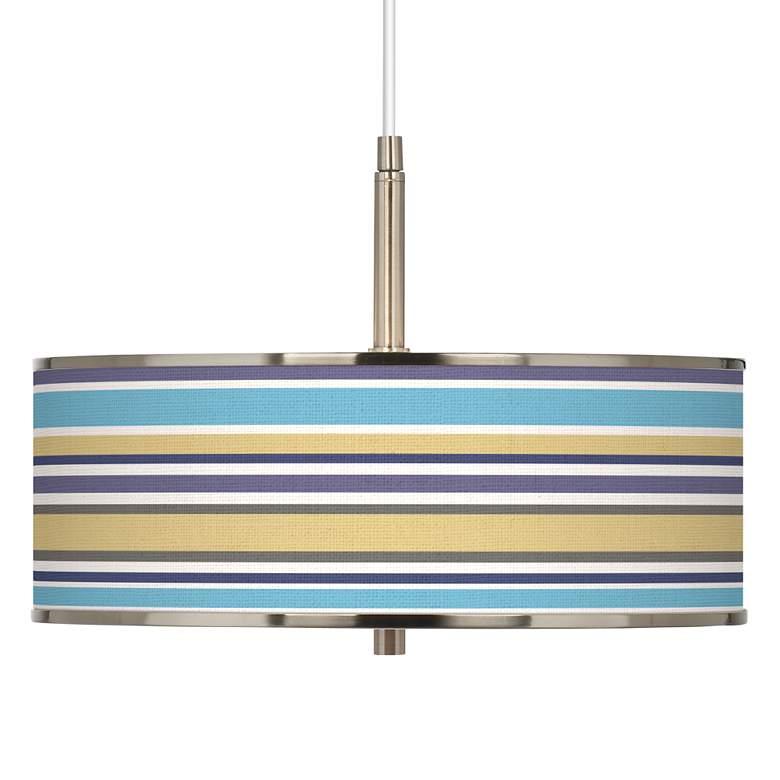 "Laguna Stripes Giclee Glow 16"" Wide Pendant Light"
