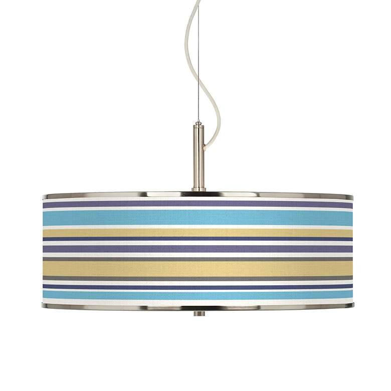 "Laguna Stripes Giclee Glow 20"" Wide Pendant Light"