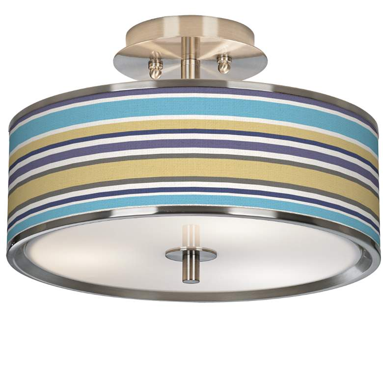 "Laguna Stripes Giclee Glow 14"" Wide Ceiling Light"
