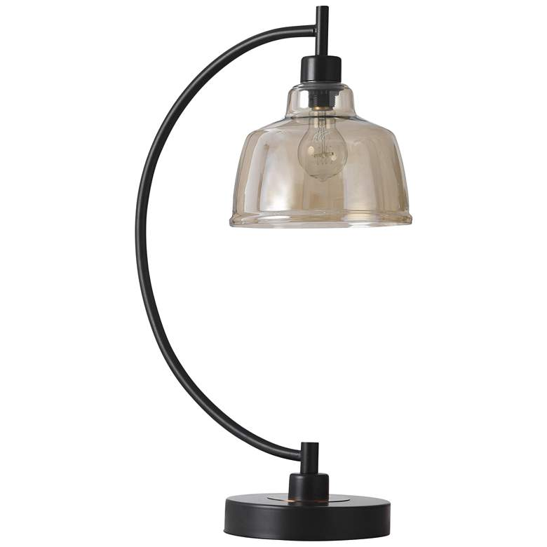 Black Water Black Steel Desk Lamp with Amber