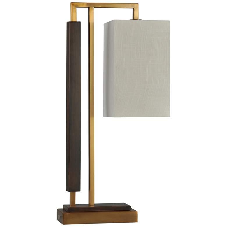 Cortland Brushed Brass and Dark Brown Steel Desk