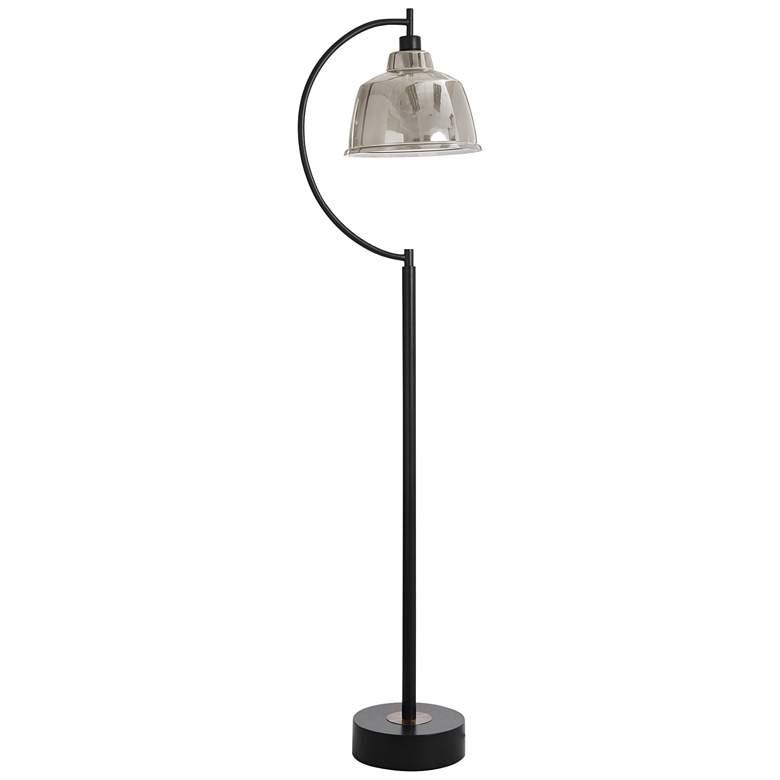 Black Water Black Steel Floor Lamp with Mercury Glass Shade