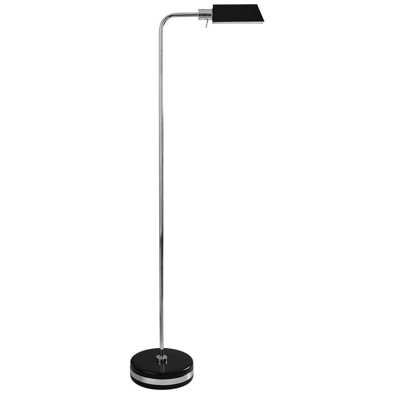 Drayton Black and Polished Steel LED Pharmacy Floor Lamp