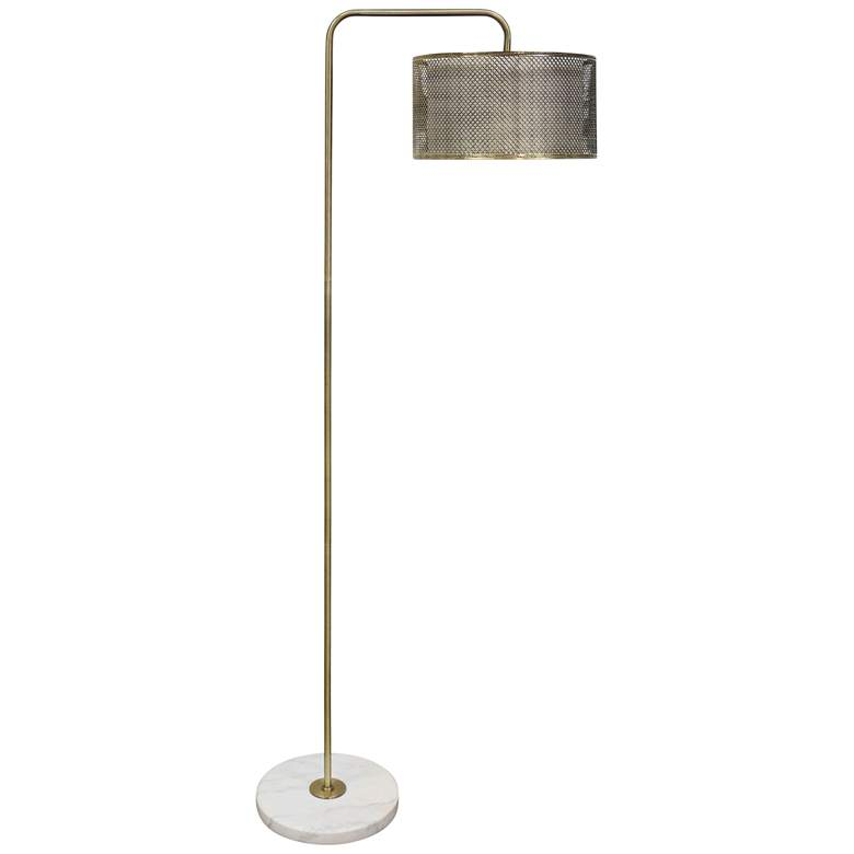 Hastings Brass Steel Floor Lamp with Mesh Shade
