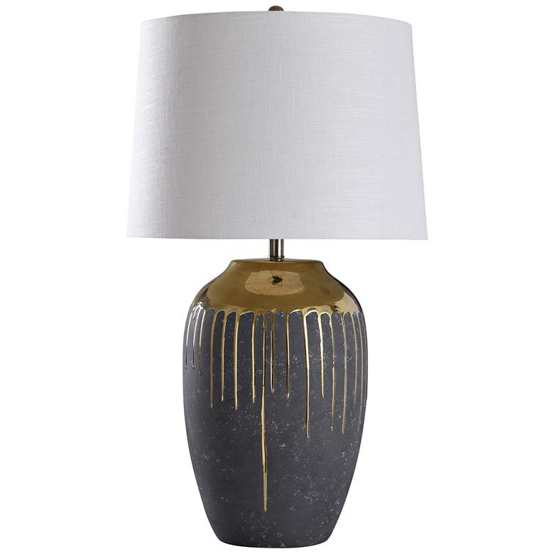 "Marloe 35"" High Gold Drip Ceramic Table Lamp"