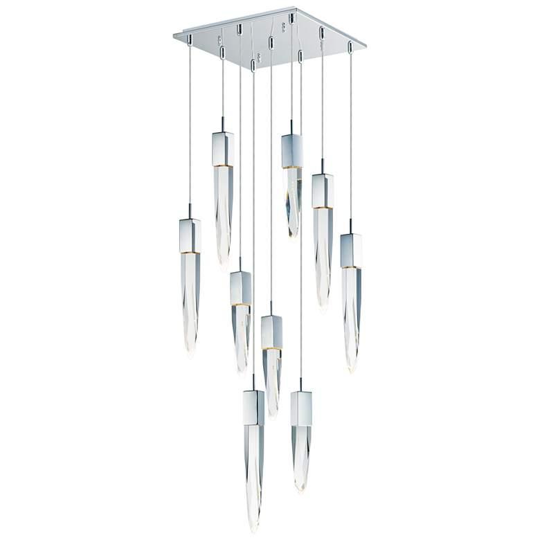"""ET2 Quartz 15 3/4"""" Wide Polished Nickel 9-Light LED Pendant"""