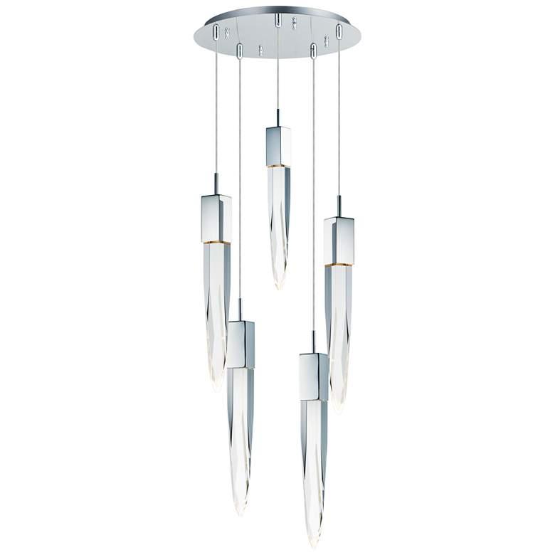 """ET2 Quartz 15 3/4"""" Wide Polished Nickel 5-Light LED Pendant"""