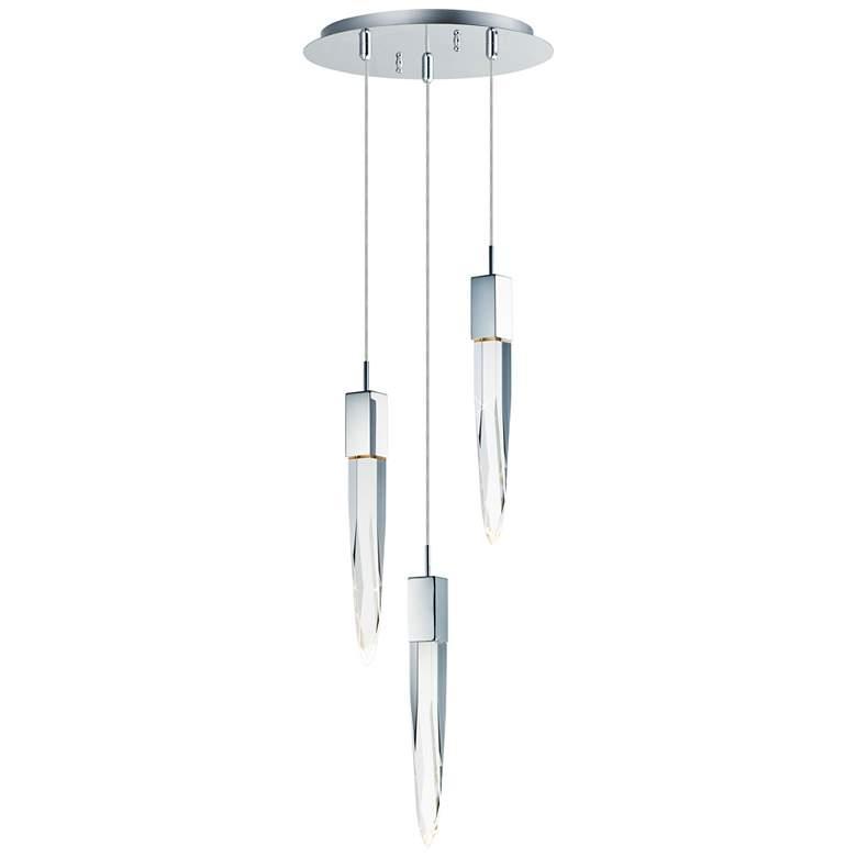 """ET2 Quartz 13"""" Wide Polished Nickel 3-Light LED Pendant"""
