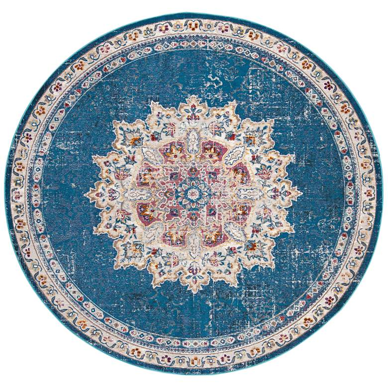 "Safavieh ARA103N 6'5""x6'5"" Round Blue and Ivory Area Rug"