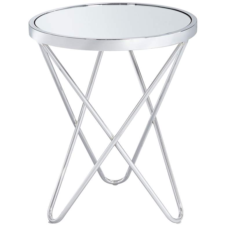 """Marty 17 1/2"""" Wide Silver Mirrored Hairpin End Table"""