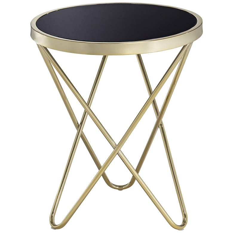 """Marty 17 1/2"""" Wide Gold and Black Hairpin End Table"""