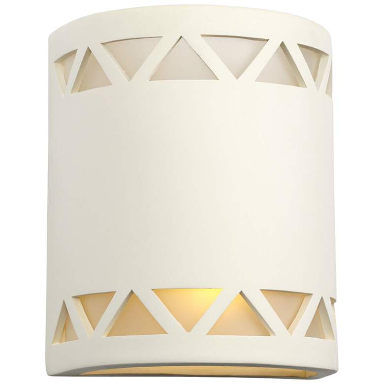 """Jaken 10""""H Paintable White Bisque Ceramic Outdoor Wall Light"""