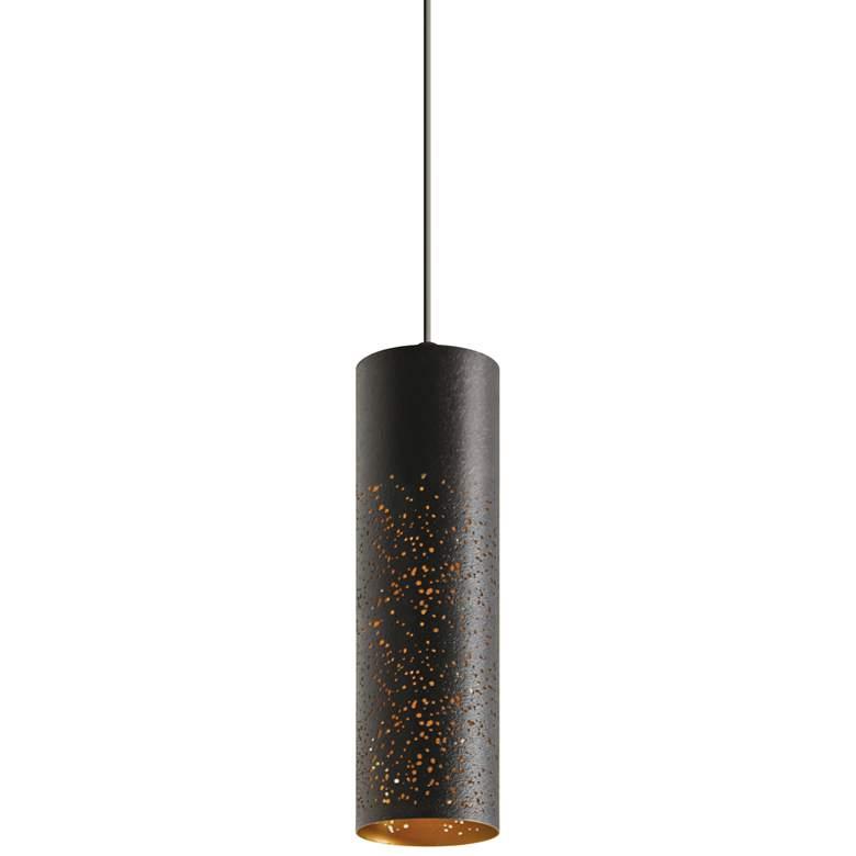 "Ash 3 1/2"" Wide Black and Gold Cylinder LED Mini Pendant"