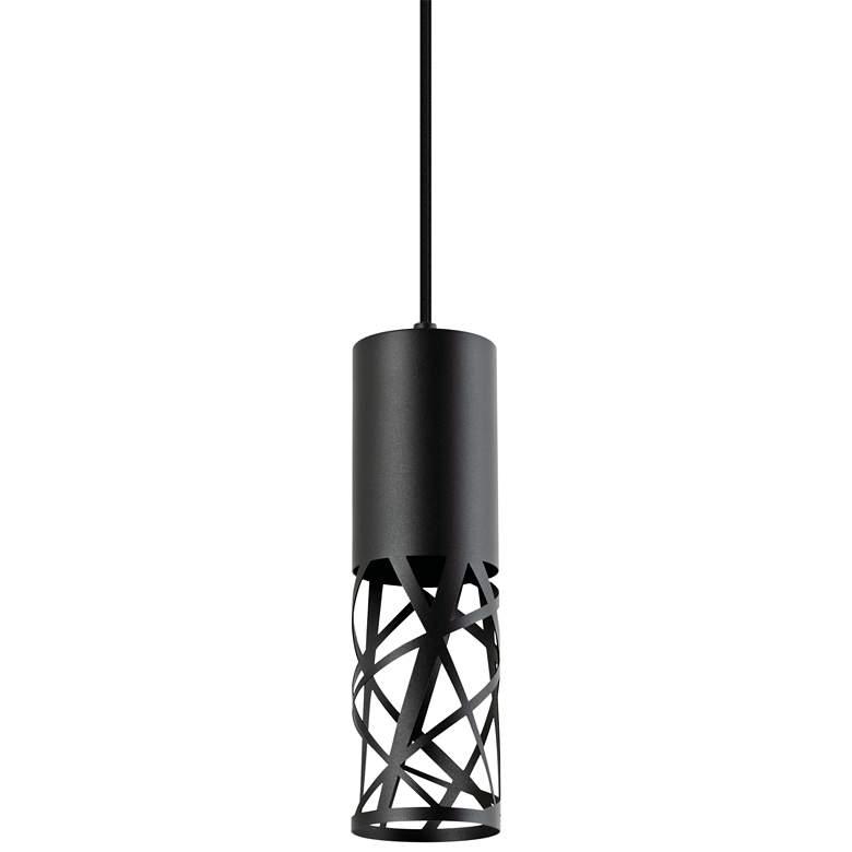 "Boon 3 1/2"" Wide Black Cut Metal Cylinder LED Mini Pendant"