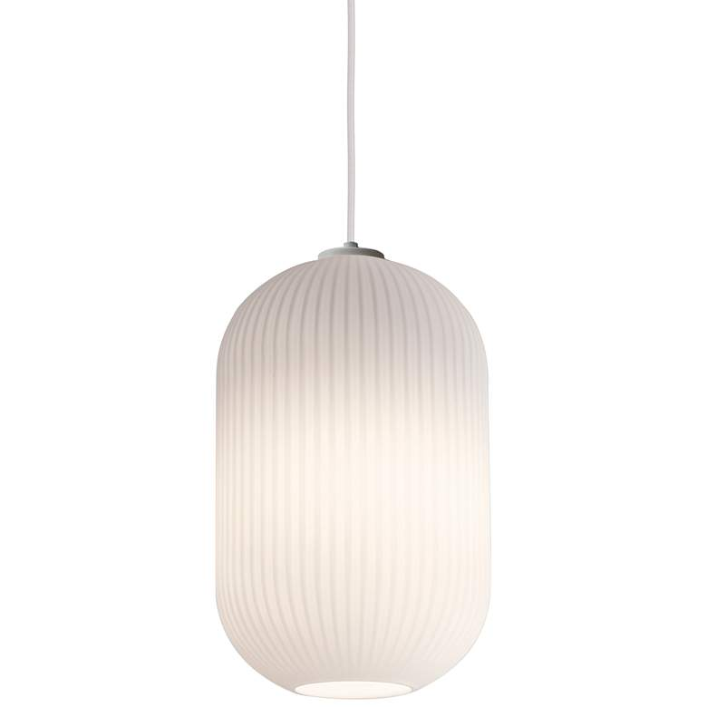 """Callie 9"""" Wide Frosted White Ribbed Glass Mini Pendant"""
