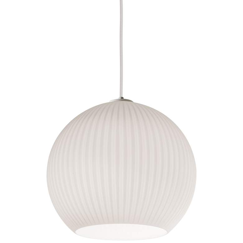 "Cleo 12 1/2"" Wide Frosted White Ribbed Glass Pendant Light"