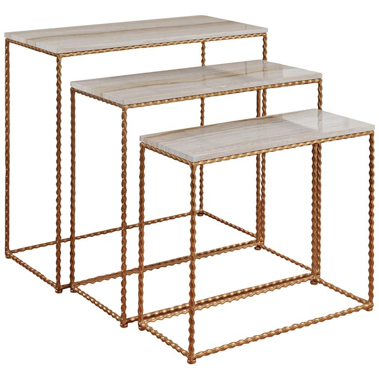 "Nested Petite Gold Powder Coated 27""W Console Table Set of 3"
