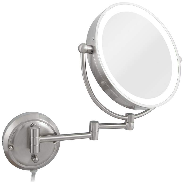 Glamour Satin Nickel Round Lighted Makeup Wall Mirror