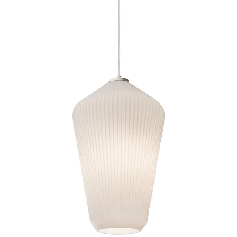 "Lola 11"" Wide Frosted White Ribbed Glass Mini Pendant"