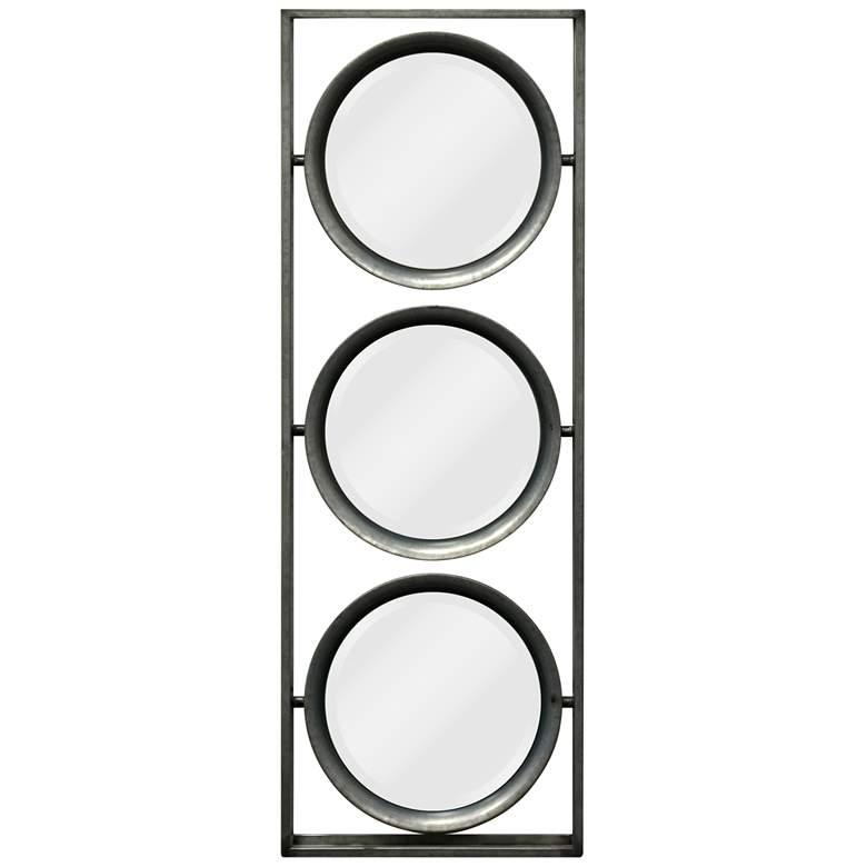 "Galvanized Metal 9"" x 26"" Tilting 3-Piece Wall Mirror"