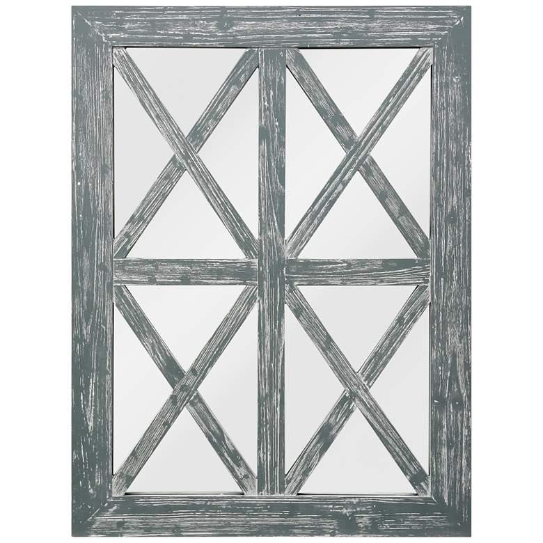 "Gray Wash X-Framed Window Pane 30"" x 40"""