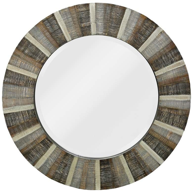 "Alternating Wood Pattern 36"" Round Wall Mirror"
