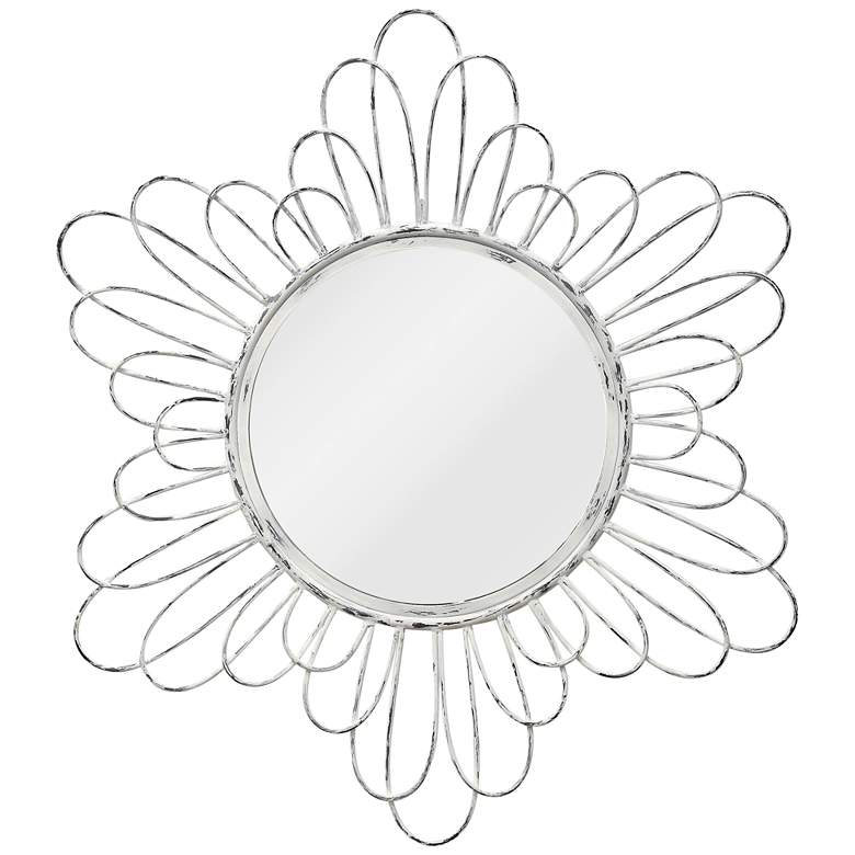 """White Wash Metal Loops 36"""" Round Wall Mirror"""
