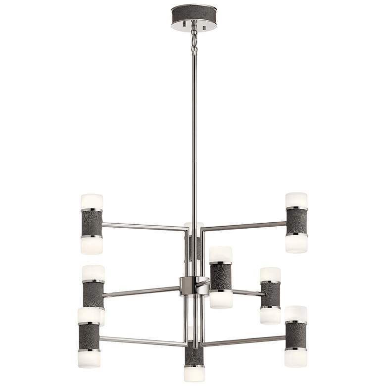 """Elan Chagrin 26"""" Wide Polished Nickel 9-Light LED Chandelier"""