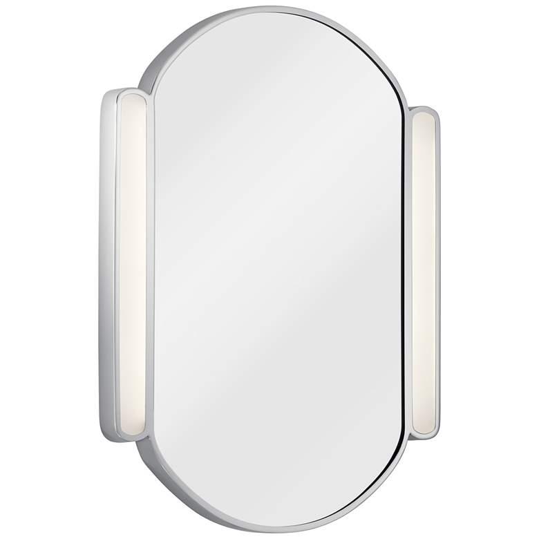 """Elan Phaelan Chrome 23 1/4"""" x 29 3/4"""" Oval LED Mirror"""