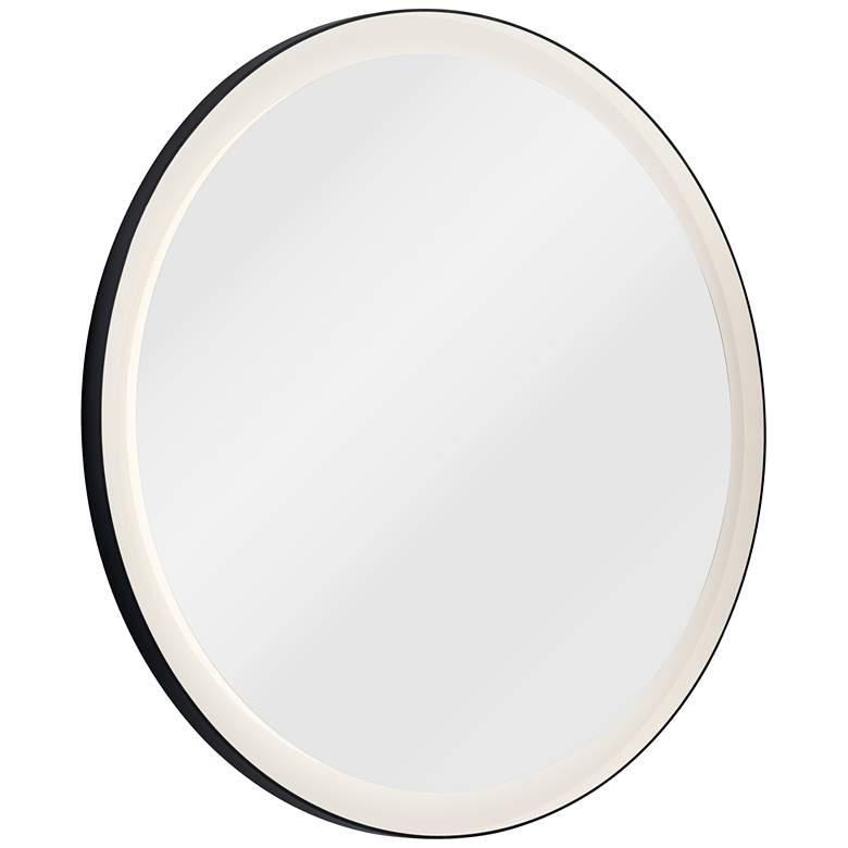 """Elan Ryame Matte Black 31 1/2"""" Round LED Wall Mirror"""