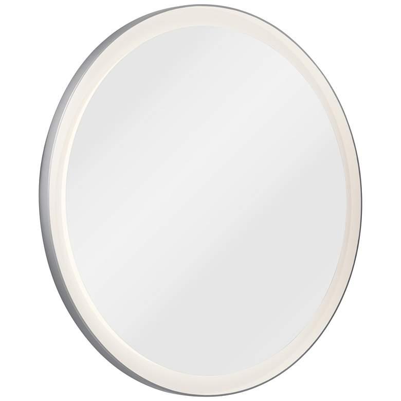 """Elan Ryame Matte Silver 31 1/2"""" Round LED Wall Mirror"""