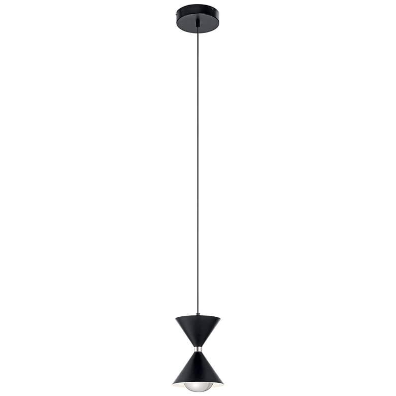 """Elan Kordan 6 1/2"""" Wide Matte Black LED Mini Pendant"""