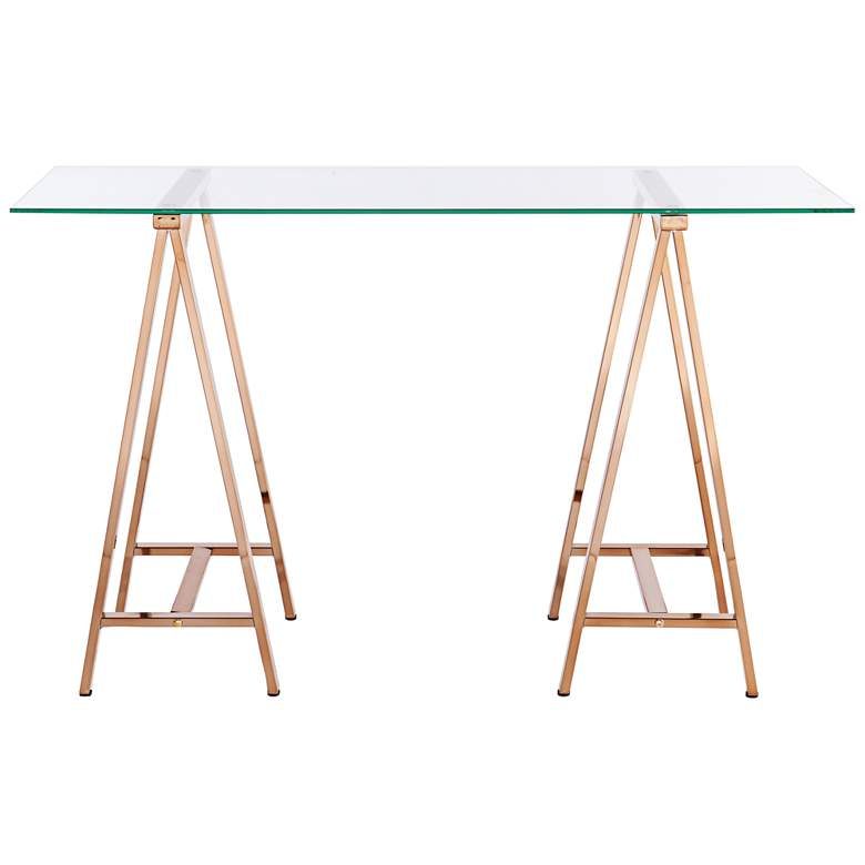 "Needham 47 1/4"" Wide Glass and Gold A-Frame Sawhorse Desk"