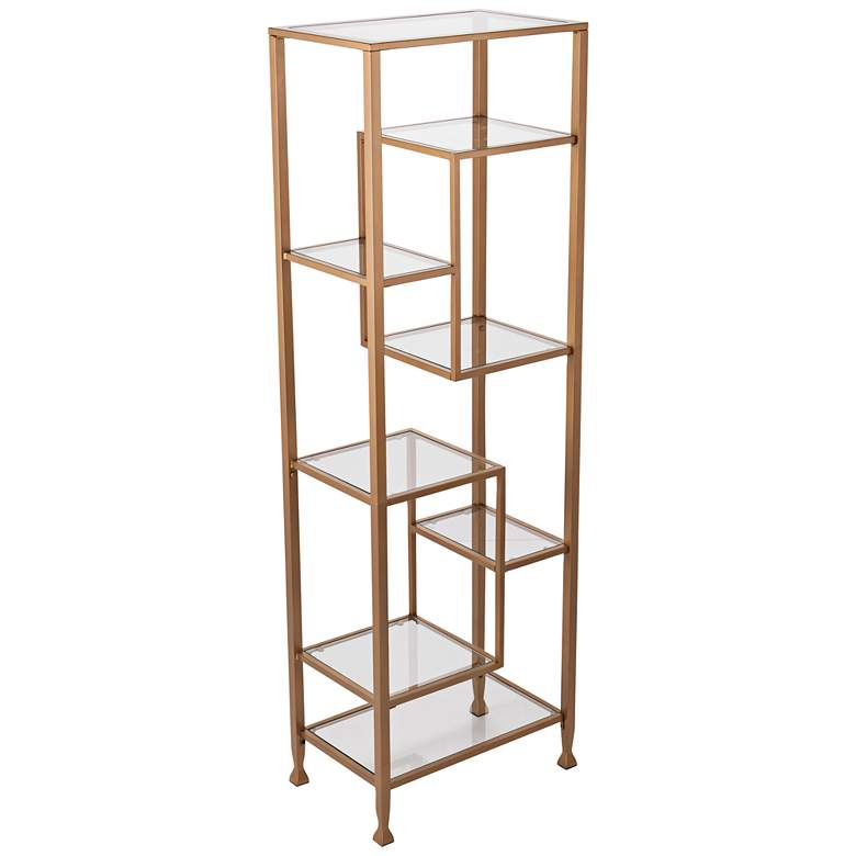 "Jaymes 68"" High Glass and Gold Asymmetrical 7-Shelf Etagere"