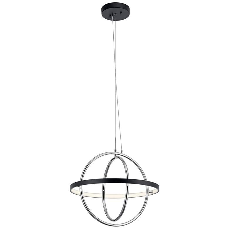 """Orb 21 1/4"""" Wide Matte Black and Polished Nickel LED Pendant"""